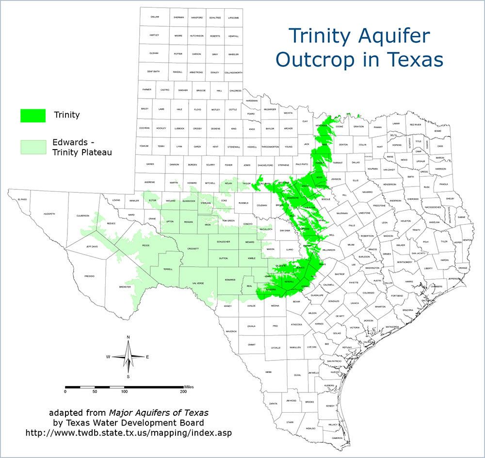 The Trinity Aquifer - Aquifer us map