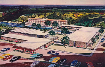 At The Time Of His In 1965 Paul Rogers Had Plans To Build A 1 Million Motor Hotel Around Headwaters Postcard Was Produced Using An Artist S